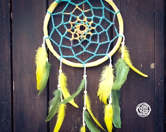 Dream Catcher - Eternal Sea - With Transitional Web and Green-Yellow Feathers - Mobile, Home Decor, Decoration
