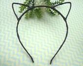 5 pcs Headbands --Black Cloth Covered Cat Head Shape Headband 4mm Wide