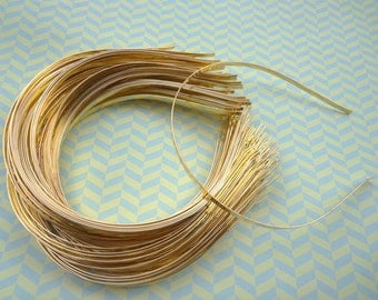 Gold Plated Metal Headbands - Lot of 20- thin 4mm wide