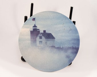 Sandstone Coaster, Round Island Lighthouse Design, Historical, Nautical, Photograph