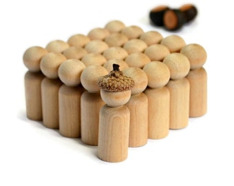 SMALL Wooden PEG Doll x25 dolls. Bulk Unfinished Waldorf Montessori Reggio Steiner Blank - peg dolls 'child' > wood craft supplies Australia