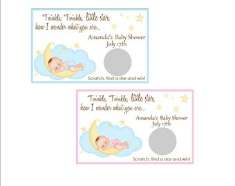 Baby shower scratch off game - personalized scratch tickets, set of 6 game cards