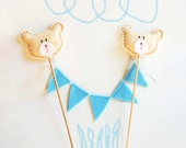 Cake topper birthday, teddy bear, baby boy, baby shower, one year old, blue, handmade in italy