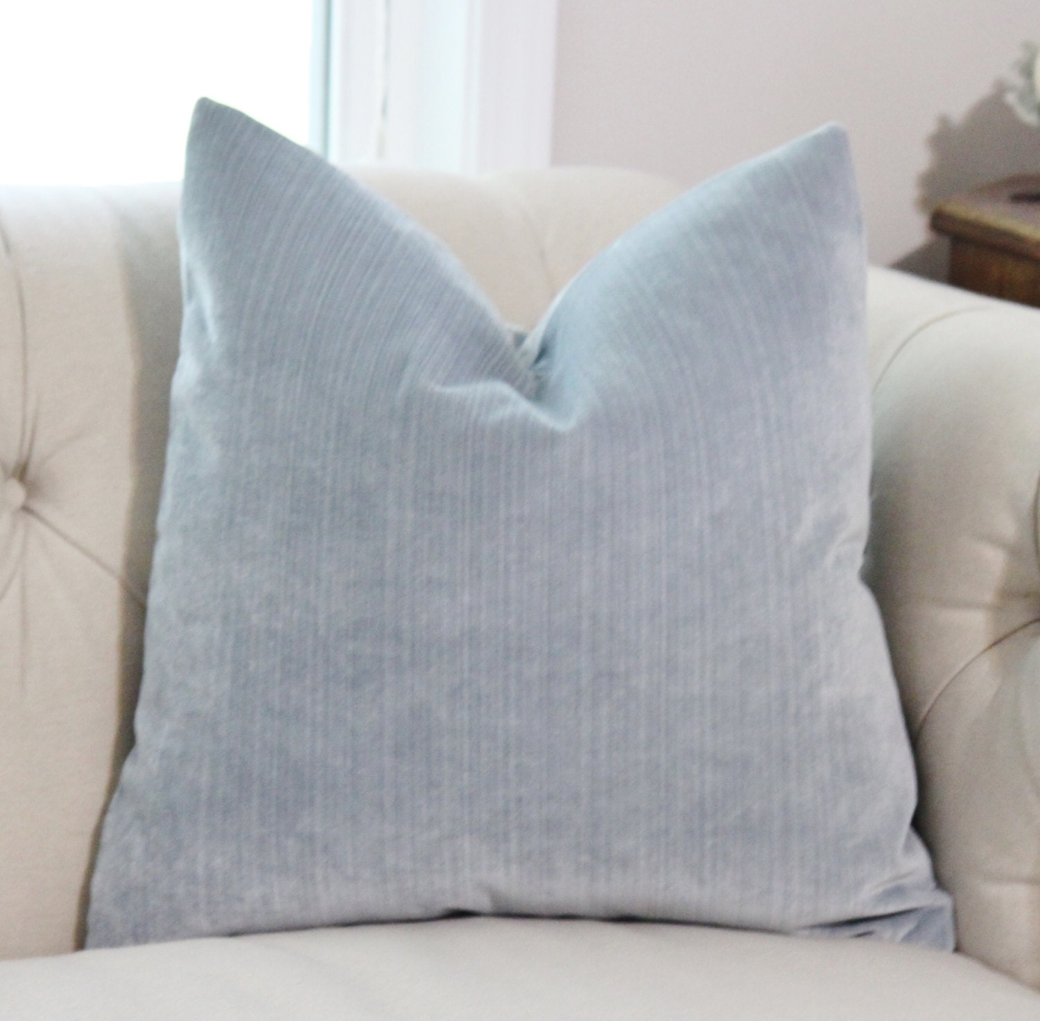 Light Blue Pillow Silver Blue Striped Velvet Pillow Cover