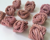 10 Vintage Extruded Celluloid Buttons Pink Square Set