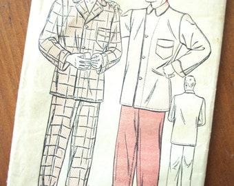 Vintage Pattern: 1940s Advance Men's Pajamas Pattern Sz 42
