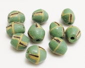 Green African Powder Glass Beads (10), Tribal Beads, Ghana King Beads (L12)