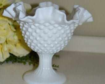 Vintage Fenton Milk Glass Bowl with Ruffled Crimped Edge Hobnail Pedestal Bowl