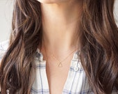 14k Tiny Triangle Necklace - 14k gold filled triangle & chain, minimal layering necklace