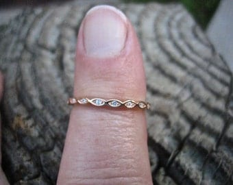 Vintage Rose Gold over 925 Sterling Silver CZ Stacking Ring
