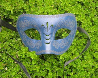 Midnight Blue Embossed Leather Masquerade Mask