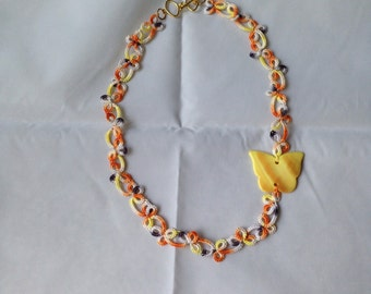 Butterfly Tatted Statement Necklace