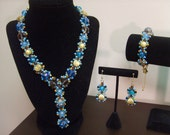 THREE PIECE SET- Turquoise Bohemian Chic Beaded Necklace, Earring, and Bracelet Set by Mich Rich (Bohemian Wrapsody Collection)