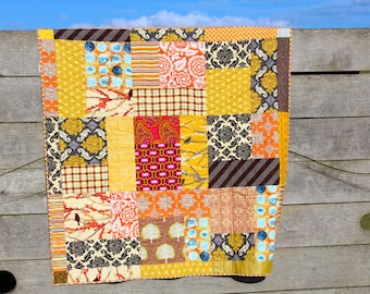 Patchwork  Lap Quilt in Orange Yellow and Brown Autumn colours, Man Cave Quilt, Sofa Throw, Masculine Quilt
