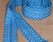 Ukrainian embroidered shirt belt. Krayka is woven. Vyshyvanka. Folk Belt. Blue, green. Ukraine Waistband. Ukrainian national clothes