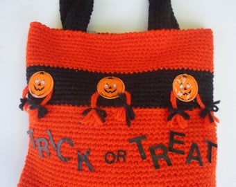 Vintage Unused Crochet Halloween Trick or Treat Bag Crochet Bag Hand Made by Mary Barresi Award Winning Crocheter Halloween Trick or Treat