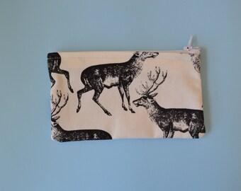 Black and White Deer Cotton Zip Pouch/Pencil Case