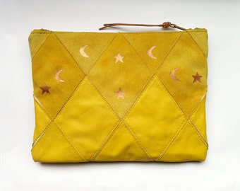 FREE SHIPPING // Patchwork Zip Clutch // yellow suede and yellow leather with copper print