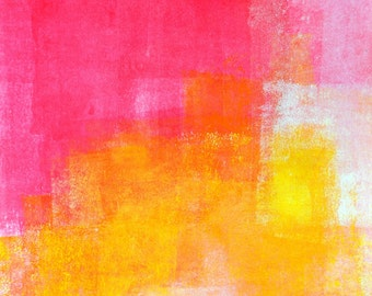 Digital Download - Pom Poms, Pink and Yellow Abstract Artwork