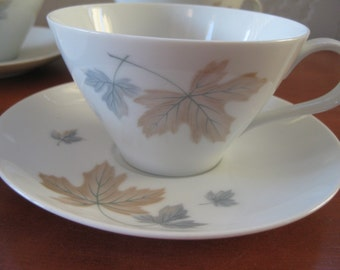 Noritake Maplewood Teacup saucer 4 sets included, Retro, Maplewood, Cookin Serve discontinued, Very good