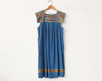 1970s Bohemian Embroidered Dress