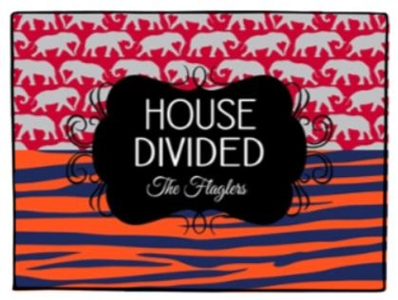 House Divided Personalized Door Mat Elephant Tiger Stripes