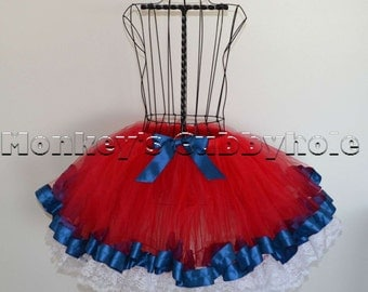 Patriotic Ribbon and Lace Trimmed Tutu