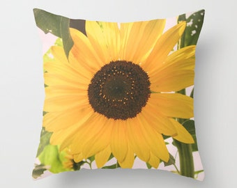 Throw Pillow -Sunflower - Yellow Flower - Home Decor - Decoration - Nature - Floral - Pillow Cover - 16x16 18x18 20x20