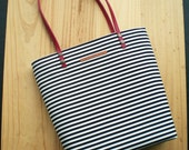Navy tote bag,Personalized,black line,canvas tote bag,navy,Stripes,Spring summer Tote,Leather straps,With your initials,handbag,purse,fabric