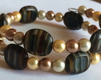 "Beautiful ""Sheer Elegance"" Beaded Memory Wire Bracelet"