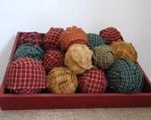Ragballs, 15 Homespun Rag balls, primitive country, bowl fillers, shelf decor, fall decor, county home decor, ornaments, rustic accent