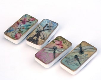 Dragonfly magnets, Paris, vintage nature domino magnet set, eiffel tower, fun gift ideas, teacher gift