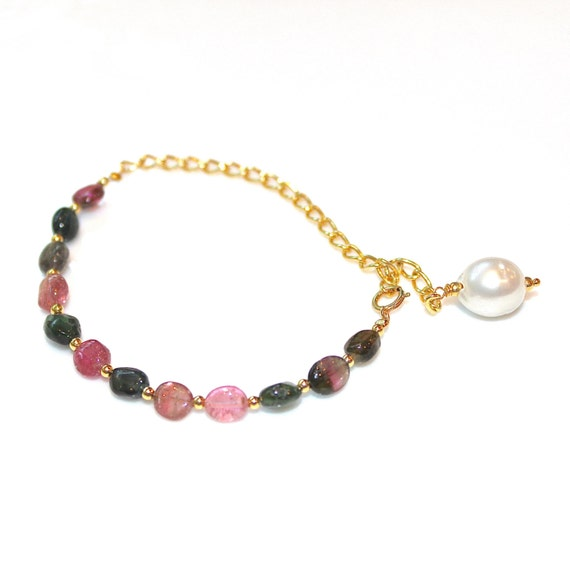 Rainbow Tourmaline Bracelet South Sea Pearl Bracelet Tourmaline Jewelry Saltwater Pearl Jewelry Stackable Bracelets Artisan Jewelry