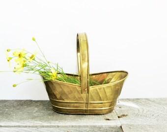 SALE - Little Vintage Brass Basket - Patina - Boho Cottage Chic