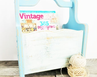 Blue Magazine Rack - Painted Caddy - Rustic Soft Blue Home Decor