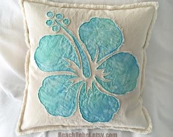 """Hibiscus flower pillow cover in aqua batik and natural distressed denim boho pillow cover 18"""""""