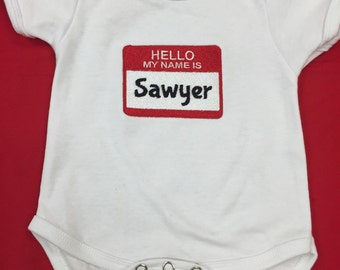 Baby Name Announcement Onesie  Hello My Name Is___________.