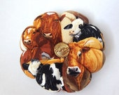 Pincushion COWS  FABRIC. Great for a sewing gift - Round Cushion for pins. Double Sided Cows.