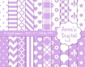 "Pastel Purple and White Digital Papers - Matching Solid Included - 21 Papers - 8.5"" x 11"" - Instant Download - Commercial Use (213)"