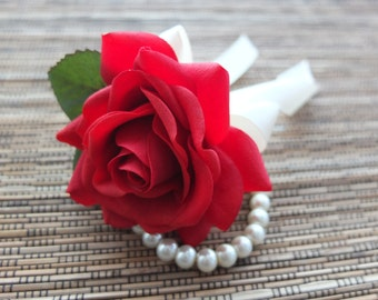 Wrist Corsage, Red Rose with Ivory ribbon on pearl bracelet