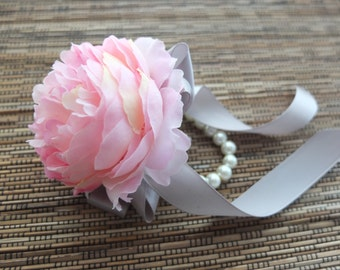 Wrist Corsage- Pink Peonies with gray ribbons on pearl bracelet