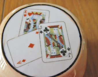 Lusterware Ash Tray Mid Century Card Players, Poker Club, Smoking Collectible, Made in Japan