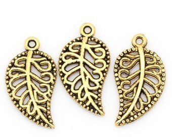 10 Pieces Gold Tone Hollow Leaf Charms