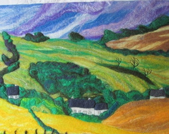 textile art picture, felt picture, felt painting, landscape, view from coastal path, 20 x 16 inches