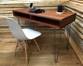 QUICK SHIP-Boxer mid century modern desk with storage, featuring sapele mahogany and steel hairpin legs.