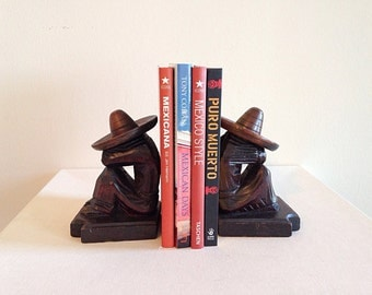Siesta Time Vintage Wood Mexican Bookends