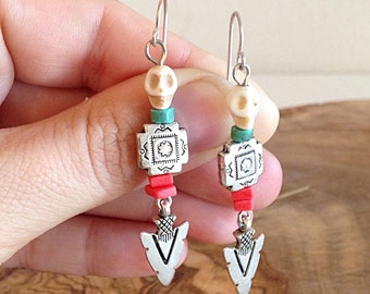 Southwest Day of the Dead Skull Desert Earrings