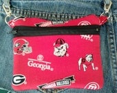 Handmade Zipper Pouch Hip Bag/ Bike Bag/ Belt Loop Pouch/ UGA Game Bag