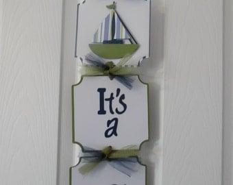 It's a Boy Hospital Banner- nautical baby boy banner- Sailboat Hospital Sign- Boy Baby Shower Nautical - 3 cards