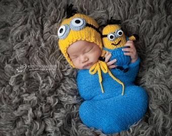 Knit Boys Newborn Minion  Bonnet and Mini Minion Toy , photo prop